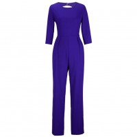 Women Summer Blue Sexy Leak Back Jumpsuit Trousers Dress WC-143BL