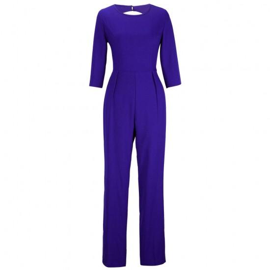 Women Summer Blue Sexy Leak Back Jumpsuit Trousers Dress WC-143BL image