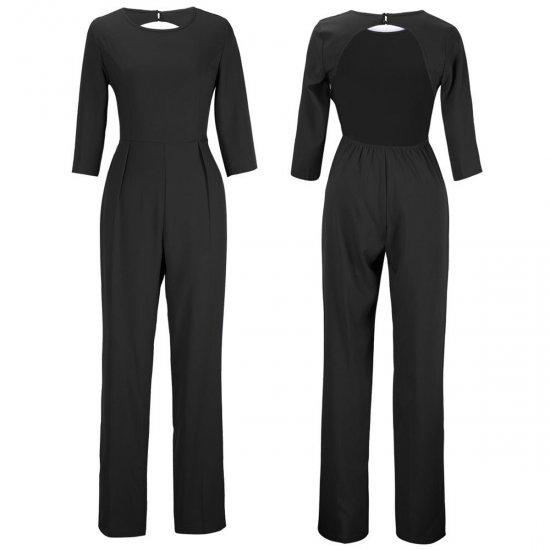 Women Summer Black Sexy Leak Back Jumpsuit Trousers Dress WC-143BK image