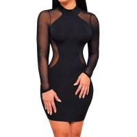Women Mesh Splice Long Sleeve Bodycon Mini Dress WC-144BK