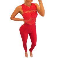 Women Sleeveless Mesh Transparent Red Lace Jumpsuit Dress WC-145RD