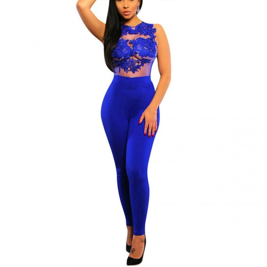 Women Sleeveless Mesh Transparent Blue Lace Jumpsuit Dress WC-145BL image