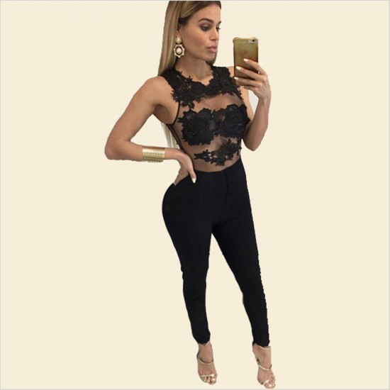 Women Sleeveless Mesh Transparent Black Lace Jumpsuit Dress WC-145BK image