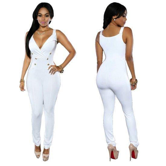 Women Fashion Sleeveless V-neck Slim White Casual jumpsuit Dress WC-146W image