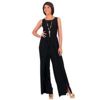 Women Hot Splicing Wide Pants Black Round Neck Rompers Dress WC-147BK