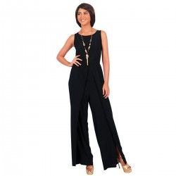 Women Hot Splicing Wide Pants Black Round Neck Rompers Dress WC-147BK