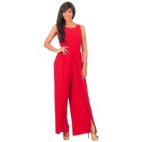 Women Hot Splicing Wide Pants Red Round Neck Rompers Dress WC-147RD