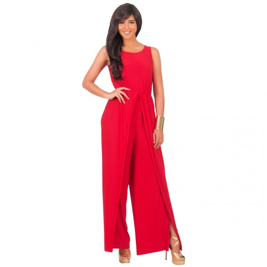 Women Hot Splicing Wide Pants Red Round Neck Rompers Dress WC-147RD image