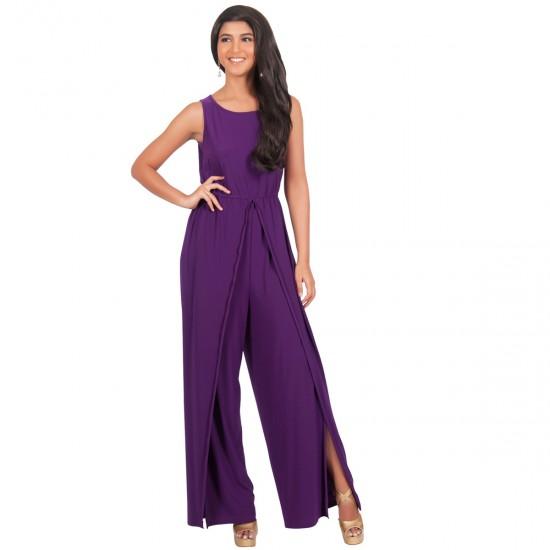 Women Hot Splicing Wide Pants Purple Round Neck Rompers Dress WC-147PR image