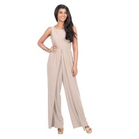 Women Hot Splicing Wide Pants Cream Round Neck Rompers Dress WC-147CR