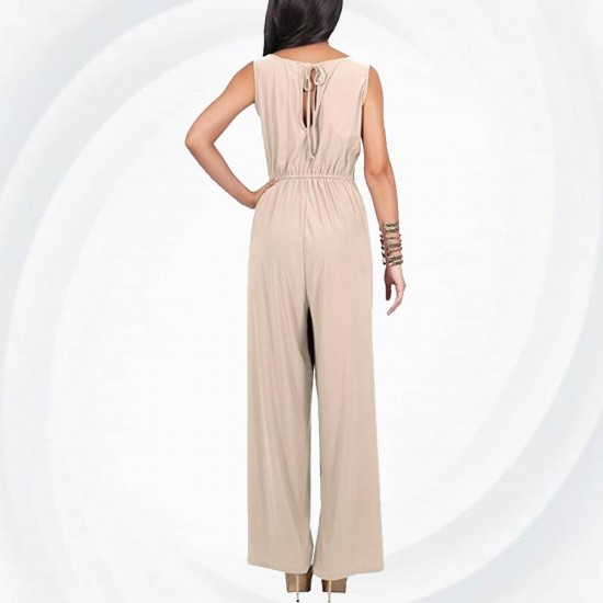 Women Hot Splicing Wide Pants Cream Round Neck Rompers Dress WC-147CR image