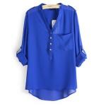 Elegant Long Sleeve Blue Cotton Shirt for Women WC-148BL | image