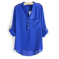 Elegant Long Sleeve Blue Cotton Shirt for Women WC-148BL