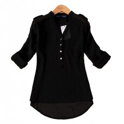 Elegant Long Sleeve Black Cotton Shirt for Women WC-148BK