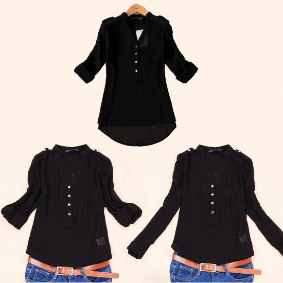Elegant Long Sleeve Black Cotton Shirt for Women WC-148BK image