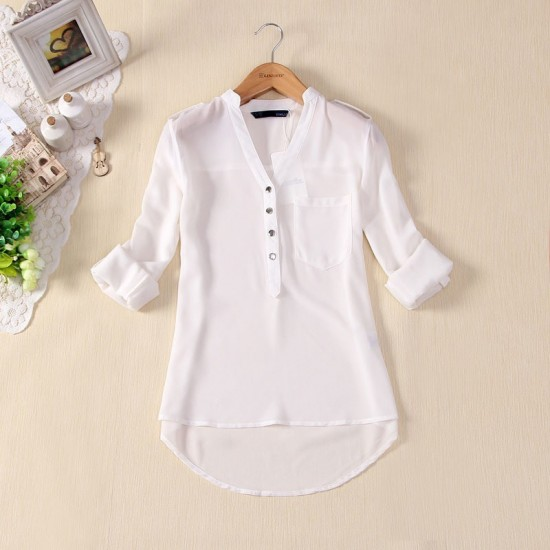 Elegant Long Sleeve White Cotton Shirt for Women WC-148W image