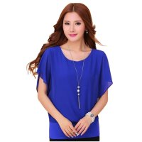 Summer Short Sleeve Round-Neck Blue Chiffon Shirt for Women WC-149BL