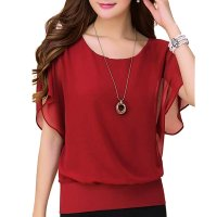Summer Short Sleeve Round-Neck Red Chiffon Shirt for Women WC-149RD