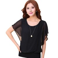 Summer Short Sleeve Round-Neck Black Chiffon Shirt for Women WC-149BK