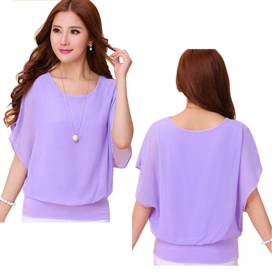 Summer Short Sleeve Round-Neck Purple Chiffon Shirt for Women WC-149PR image