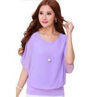 Summer Short Sleeve Round-Neck Purple Chiffon Shirt for Women WC-149PR