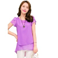 Elegant Chiffon Short Sleeve Purple Loose Bottom Top for Women WC-150PR