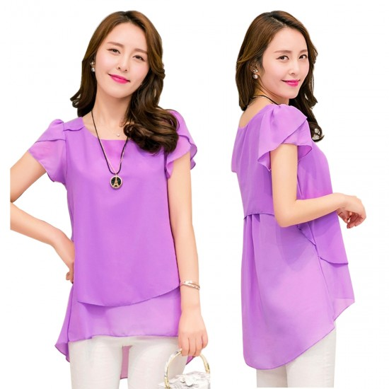 Elegant Chiffon Short Sleeve Purple Loose Bottom Top for Women WC-150PR image