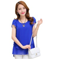 Elegant Chiffon Short Sleeve Blue Loose Bottom Top for Women WC-150BL
