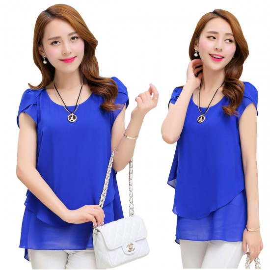 Elegant Chiffon Short Sleeve Blue Loose Bottom Top for Women WC-150BL image