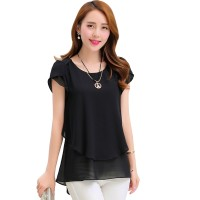 Elegant Chiffon Short Sleeve Black Loose Bottom Top for Women WC-150BK