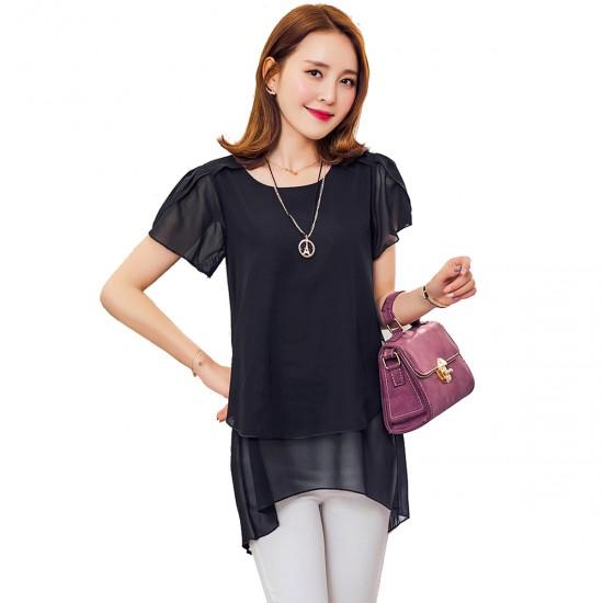 Elegant Chiffon Short Sleeve Black Loose Bottom Top for Women WC-150BK image