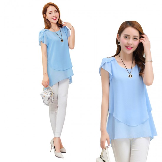 Elegant Chiffon Short Sleeve Light Blue Loose Bottom Top for Women WC-150LB image