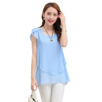 Elegant Chiffon Short Sleeve Light Blue Loose Bottom Top for Women WC-150LB
