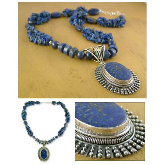 Blue Riches Lapis Lazuli Handcrafted Sterling Silver Necklace ANDN-37