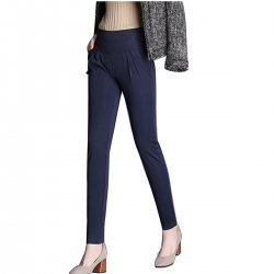 Women Blue Real Shot Casual Harem Pants Spring and autumn Trousers WC-151BL