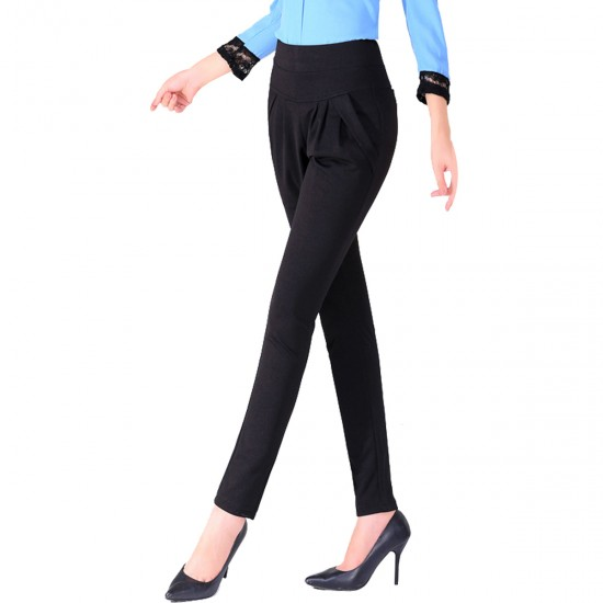 Women Black Real Shot Casual Harem Pants Spring and autumn Trousers WC-151BK image