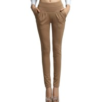 Women Brown Real Shot Casual Harem Pants Spring and Autumn Trousers WC-151BR