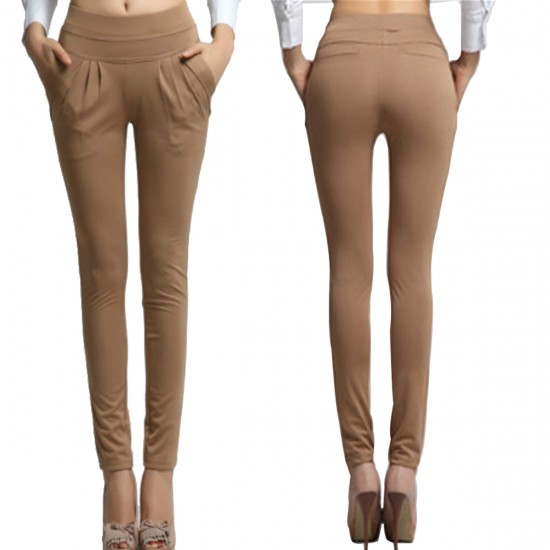 Women Brown Real Shot Casual Harem Pants Spring and Autumn Trousers WC-151BR image