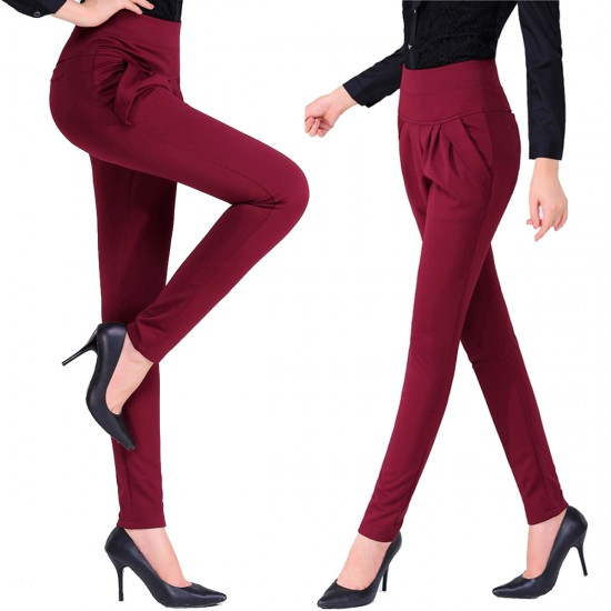 Women Red Real Shot Casual Harem Pants Spring and Autumn Trousers WC-151RD image