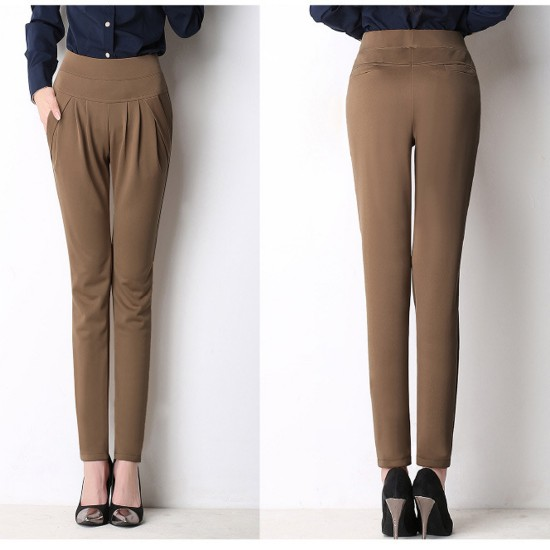Women Dark Brown Real Shot Casual Harem Pants Spring and autumn Trousers WC-151DB image