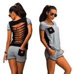 Women Summer Sexy Piece Set T-Shirt Black Gray Hollow Out Backless WC-152 | image