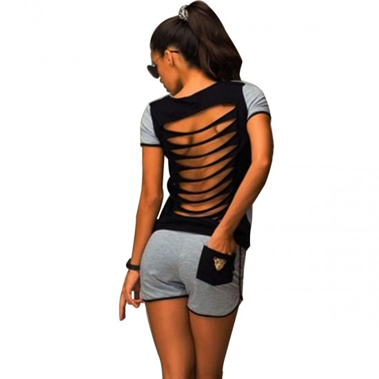 Women Summer Two Piece Set T-Shirt Black Gray Hollow Out Backless WC-152 image