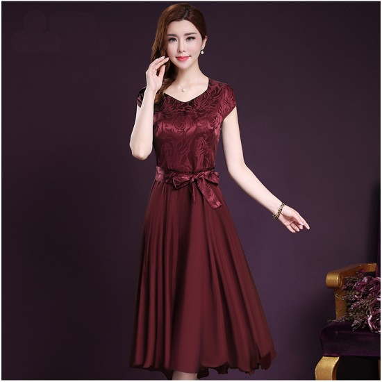 Women Summer Elegant Red Short-sleeved Slim Pleated Party Dress WC-153RD image