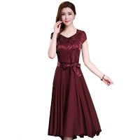 Women Summer Elegant Red Short-sleeved Slim Pleated Party Dress WC-153RD