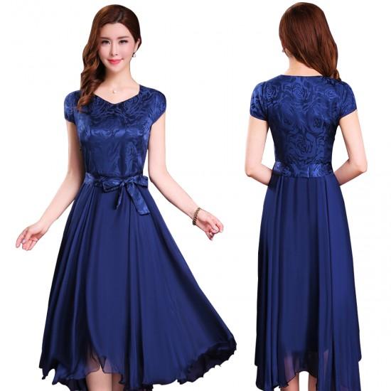 Women Summer Elegant Blue Short-sleeved Slim Pleated Party Dress WC-153BL image