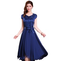 Women Summer Elegant Blue Short-sleeved Slim Pleated Party Dress WC-153BL