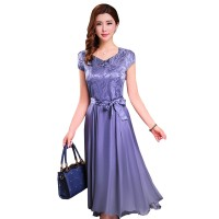 Women Summer Elegant Grey Short-sleeved Slim Pleated Party Dress WC-153GR