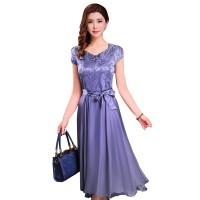 Women Summer Elegant Grey Short-sleeved Slim Pleated Party Dress WC-153GR