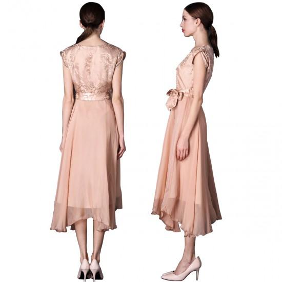 Women Summer Elegant Biege Short-sleeved Slim Pleated Party Dress WC-153G image