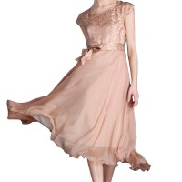 Women Summer Elegant Biege Short-sleeved Slim Pleated Party Dress WC-153G